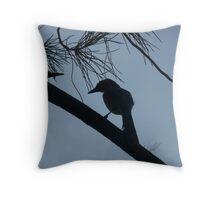 scrub jay silhouette Throw Pillow