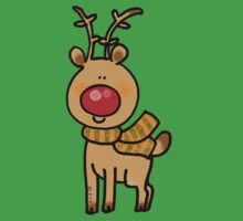 cute Christmas reindeer cartoon Baby Tee
