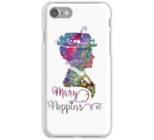 Mary Poppins Portrait Silhouette Watercolor  iPhone Case/Skin