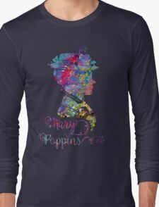 Mary Poppins Portrait Silhouette Watercolor  Long Sleeve T-Shirt