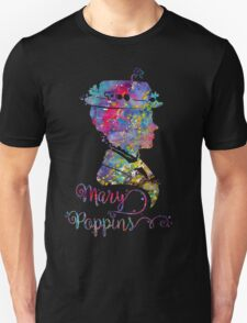 Mary Poppins Portrait Silhouette Watercolor  Unisex T-Shirt