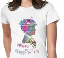 Mary Poppins Portrait Silhouette Watercolor  Womens Fitted T-Shirt