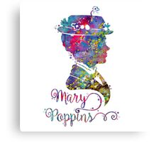 Mary Poppins Portrait Silhouette Watercolor  Canvas Print