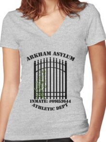Arkham Asylum, Inmate: Poison Ivy  Women's Fitted V-Neck T-Shirt
