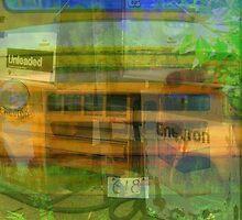 Old School Bus and Gas Pumps by Debbie Robbins
