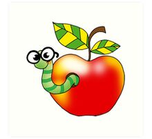 Smart bookworm with red apple Art Print