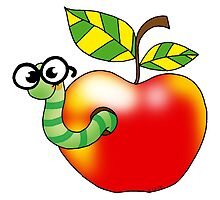 Smart bookworm with red apple by CuteCartoon