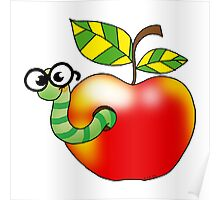 Smart bookworm with red apple Poster
