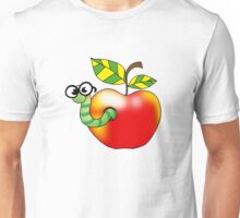 Smart bookworm with red apple Unisex T-Shirt