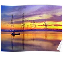 Sunset Over Alloa Harbour. Poster