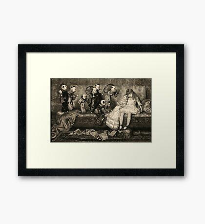 Sleeping Girl Dreams of Living Dolls Framed Print