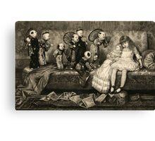 Sleeping Girl Dreams of Living Dolls Canvas Print