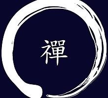 Zen Symbol with the word Zen in Chinese (White) by ibadishi