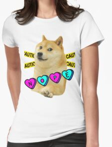 Nope doge w/ caution tape Womens Fitted T-Shirt