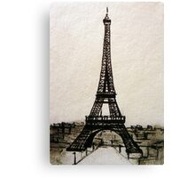 Postcard from Paris I - ink on paper Canvas Print