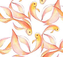 Watercolor fish pattern by Gribanessa