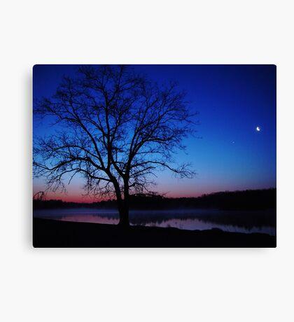 Oak Tree Silhouette Sunrise Canvas Print