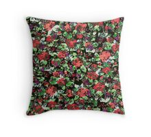 Red and Purple Floral Mash Up Throw Pillow