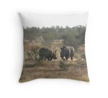 Rhino Fight Kruger National Park Throw Pillow