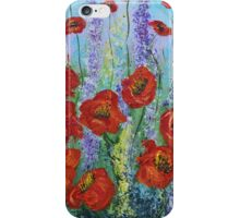 Red Poppy flowers, abstract art, wall art, home decor original painting iPhone Case/Skin