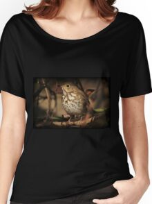 Hermit Thrush Perched On A Felled Tree Women's Relaxed Fit T-Shirt
