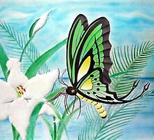 Butterfly and Lily Pastel by Edmond  Hogge
