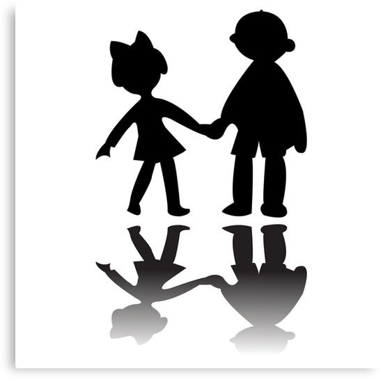 Boy and girl silhouettes by Laschon Robert Paul