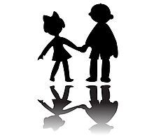 Boy and girl silhouettes Photographic Print