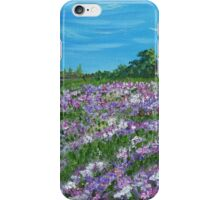 Lavender flowers, field art, floral art, oil painting iPhone Case/Skin