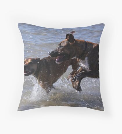 Playing at the beach Throw Pillow