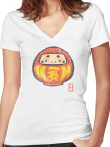 Daruma [Special Lucky Toy Box] Women's Fitted V-Neck T-Shirt