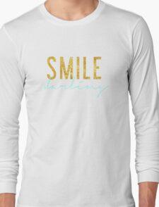 Smile Darling - Aqua & Gold Long Sleeve T-Shirt