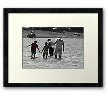 family at devon valley Framed Print