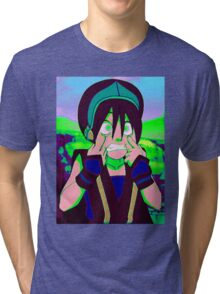 Toph Beifong - psychedelic friendly reminder that she's blind Tri-blend T-Shirt
