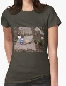 Squirrel Grabbing Grub Womens Fitted T-Shirt
