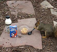 Squirrel Grabbing Grub by Edmond  Hogge