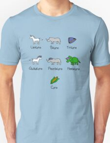 Unicorn, Bicorn, Tricorn, Quadcorn, Pentacorn, Hexacorn ... and Corn T-Shirt