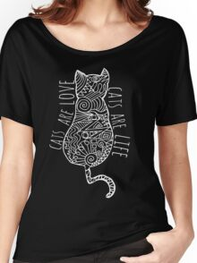 cats are love, cats are life (white)  Women's Relaxed Fit T-Shirt