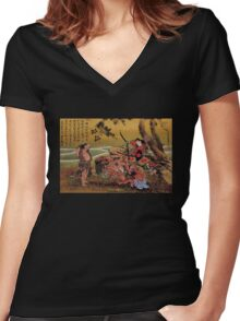 'Tametomo On Demon Island' by Katsushika Hokusai (Reproduction) Women's Fitted V-Neck T-Shirt