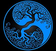 Blue and Black Tree of Life Yin Yang by Jeff Bartels