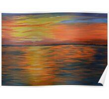 ocean blaze,  ocean sunset,  wall art, abstract art Poster