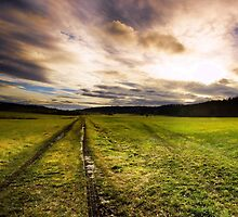 Heavy clouds and dark atmosphere - road through field by JEPhotography