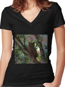 Midnight Owl Women's Fitted V-Neck T-Shirt