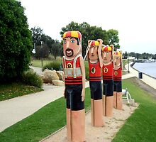 Sculptured 1930s Life Savers Bollards by Chris Chalk