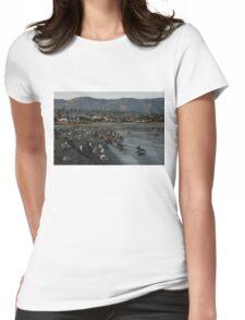 Santa Barbara Beach Crowd  Womens Fitted T-Shirt