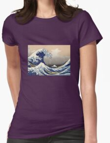 'The Great Wave Off Kanagawa' by Katsushika Hokusai (Reproduction) Womens Fitted T-Shirt