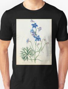 Floral illustrations of the seasons Margarate Lace Roscoe 1829 0266 Delphinium Grandiflorum Unisex T-Shirt