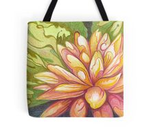 Pink, Orange, Salmon & Greens Decorative Waterlily Design Tote Bag