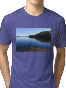 A Blue Autumn Afternoon - Algonquin Lake Serenity Tri-blend T-Shirt