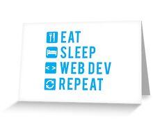 Eat Sleep Web Dev Repeat BLUE clear icons Greeting Card